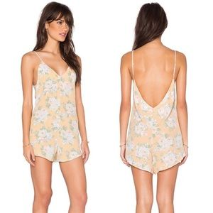 "Privacy Please ""Felicity"" Romper in Peach Floral"